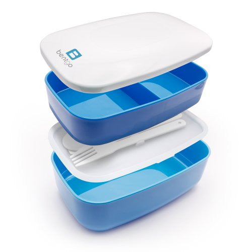 Bentgo Classic (Blue)   All In One Stackable Lunch Box Solution   Sleek And Modern Bento Box Design