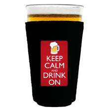 Coolie Junction Keep Calm and Drink On Funny Pint Glass Coolie Black