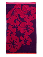Chortex Beach Towels %100 Turkish Cotton, Extra Soft, Absorbent, Thick (450 Gsm) (Hibiscus Beach Towel Purple)