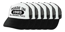 30th Birthday Gifts Made in 1989 All Original Parts Bday Hat Set Birthday Favors 6-Pack Trucker Hats Black