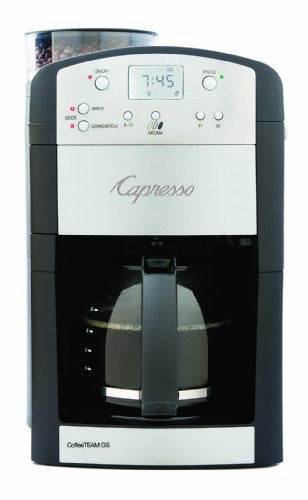 Capresso 464.05 Coffee Team Gs 10 Cup Digital Coffeemaker With Conical Burr Grinder, Glass Carafe