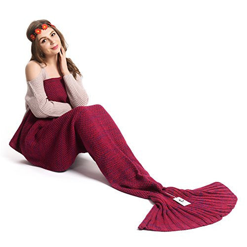 Kpblis Knitted Mermaid Blanket Tail For Kids And Adults,Super Soft And Fashion Sleeping Bags 71 35 I