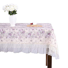 Country style lace purple grace floral design square tablecloths off white 43