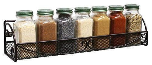 Deco Bros 2 Pack Wall Mount Single Tier Mesh Spice Rack, Bronze