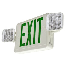 LFI Lights - UL Certified - Hardwired Green LED Combo Exit Sign Emergency Light - Square Head - COMB