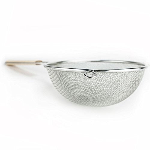 "Huji 2 Stainless Steel Fine 8"" Double Mesh Strainer Colander Sieve Sifter With Wooden Handle For Kit"