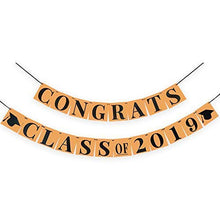 Congrats Class of 2019 Banner - Classy Graduation Decorations for Graduation Party Supplies 2019 | Kraft Paper Bunting Graduation Banner Sign|Eye-Catching Black Ribbon Decor,Large 6.3x6.3Inch
