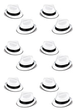 Beistle 60339-25 Velour Havana Chairman Hats, One Size Fits Most, White/Black, 12 Piece Pack