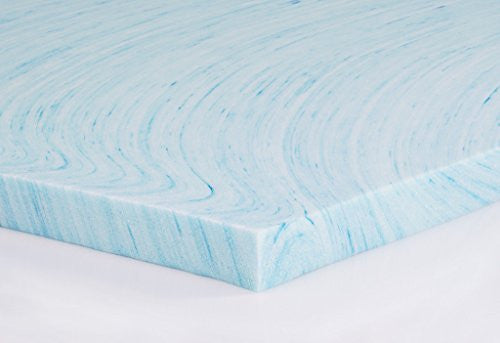 "Dream Foam Bedding 2"" Gel Swirl Memory Foam Topper, Made In Usa,Twin, Blue"
