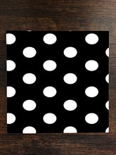White Polka Dot Polka Dots Black Background One Piece Premium Ceramic Tile Coaster 4.25
