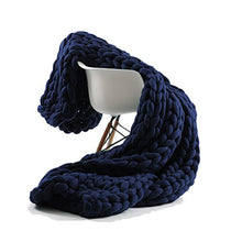 Incarpo Chunky Knit Blanket Handwoven Wool Yarn Knitting Throw Bed Sofa Super Warm Home Decor (Navy,