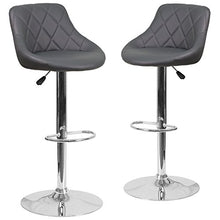 Flash Furniture 2 Pk. Contemporary Gray Vinyl Bucket Seat Adjustable Height Barstool With Chrome Bas