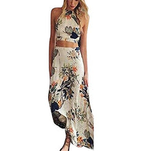 Long Beach Sling Dress,Hemlock Women Girl Boho Halterneck Dress Evening Party Dress (XL, Beige)