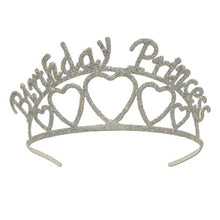 Beistle 60631 Glittered Metal Birthday Princess Tiara, One Size, Silver