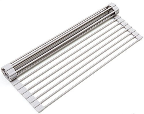 Surpahs Over The Sink Multipurpose Roll Up Dish Drying Rack (Warm Gray, Large)