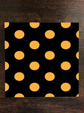Orange Polka Dot Polka Dots Black Background One Piece Premium Ceramic Tile Coaster 4.25