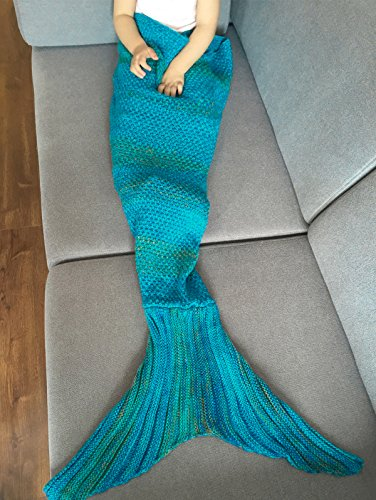 FEESHOW Handmade Knitted Mermaid Tail Blanket Living Room Bedroom Soft Cozy Sleeping Bag for Adult K