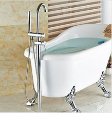 Gowe Polished Chrome Brass Bathroom Tub Faucet Floor Mounted Tub Filler W/ Hand Shower Swivel Spout