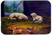 Caroline's Treasures 7322JCMT Corgi Chaos in the Barn with Sheep Kitchen or Bath Mat, 24 by 36