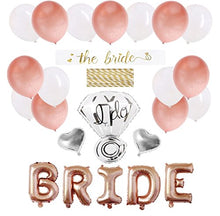 Bachelorette Party Decorations Pack - Rose Gold Party Supply Kit with Rose Gold, White Pearl and Silver Heart Balloons + Rose Gold Straws + The Bride Sash + Bride Foil Banner and Diamond Ring Balloon
