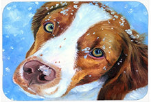 Caroline's Treasures 7348CMT Snow Baby Brittany Spaniel Kitchen or Bath Mat, 20 by 30
