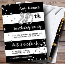 Black White Silver Confetti 80th Personalized Birthday Party Invitations