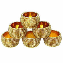 AsiaCraft Golden Beaded Napkin Rings - Set of 6 Rings
