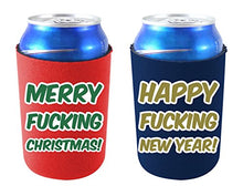Coolie Junction Merry Fucking Christmas and Happy Fucking New Year Can Coolie, Neoprene Collapsible (Christmas and New Year)