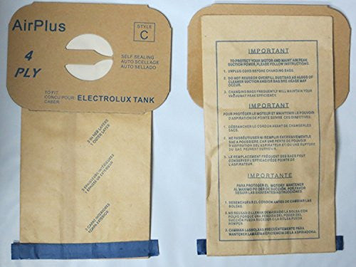 Enviro Care Style C 48 Electrolux Type C Tank Model Vacuum Cleaner Bags 4 Ply, Tan