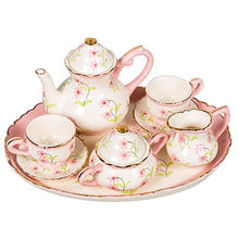 Pink and White Flower Sprigs Design White Porcelain Children's Tea Party Set
