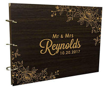 Custom Wedding Floral Wood Engraved Guest Book Personalized Bride & Groom Photo Album Scrapbook