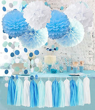 Birthday Party Decorations Baby Blue White Turquoise Blue Tissue Paper Pom Poms Snow Theme Party Decor Baby Boy First Birthday Decorations Circle Garland Whales Baby Shower Decorations