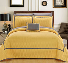 Chic Home 8 Piece Mesa Hotel Collection 2 Tone Banded Geometrical Embroidered, Bag, Sheets Queen Quilt Set Yellow Shams and Decorative Pillows Included