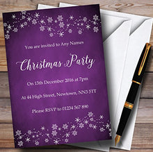 Purple Snowflake Design Personalized Christmas/New Year/Holiday Party Inv.