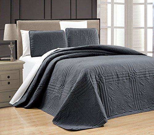 "3 Piece Grey Oversize ""Stella Grande"" Bedspread King / Cal King Embossed Coverlet Set 118 By 106 Inc"