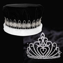 Black Velvet Crown With Silver Band And Celia Queen Tiara Royalty Set
