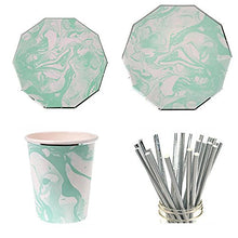 Linara Boutique Party Bundle Themed Disposable Tableware Elegant Series (Blue Marble)