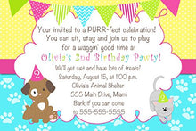 30 Invitations Puppy Kitten Pawty Birthday Personalized Cards + 30 White Envelopes