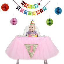 6 Pcs Table Skirt Glitter Chair Skirt Pom Poms Garland Banner Kit Baby Birthday Party Supplies Cute Baby Shower Decoration (Pink)