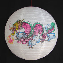 Chinese White Paper Lanterns with Dragon Pictures