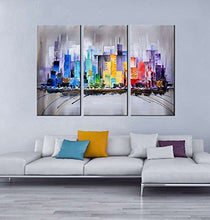 ARTLAND Modern 100% Hand Painted Framed Wall Art Colorful City 3-Piece Gallery-Wrapped Abstract Oil Painting on Canvas Ready to Hang for Living Room for Wall Decor Home Decoration 24x36inches