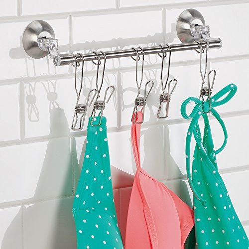Inter Design Forma Power Lock Suction Max Shower Organizer Rack With Clips, Clear/Brushed Stainless