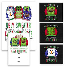 Ugly Sweater Game Pack Christmas Party Supplies - 25 Voting Cards 1 Sign 3 Holiday Wine Bottle Stickers (Per Set)