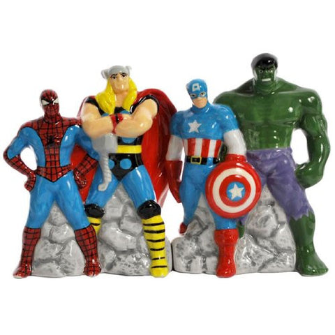 Westland Giftware Magnetic Ceramic Salt And Pepper Shaker Set, 4 Inch, Marvel Superheroes, Set Of 2
