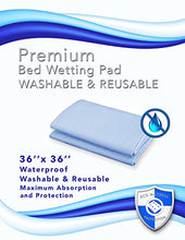 Ultra Soft Premium Bed Wetting Pad- Light Blue 36 X 36. Waterproof Sheet Protector for Adults, Senio