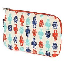 Keep Leaf 100% Cotton Canvas Flat Slim Cosmetic Bag|Pencil Case in Robot Print