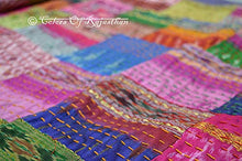 colors of rajasthan COR's Hippie Bedspreads Kantha Quilt, Kantha Blanket Bedspread, Patch Kantha Throw, Twin Kantha, Kantha Rallies Indian Sari Quilt (Twin)