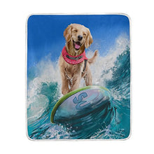ALAZA Home Decor Hipster Retriever Dog Ocean Blanket Soft Warm Blankets for Bed Couch Sofa Lightweight Travelling Camping 60 x 50 Inch Throw Size for Kids Boys Women