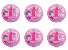 Beistle BN051P 6-Pack My 1st Birthday Satin Button, 2-Inch