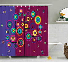 Ambesonne Trippy Shower Curtain, Funny Geometric Circle and Square Shaped Tree Branches Vibrant Retro Art Image, Fabric Bathroom Decor Set with Hooks, 84 Inches Extra Long, Purple Maroon